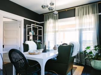Eclectic Home Office With Black Walls