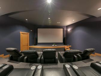 Home Theater With Gray Leather Seats