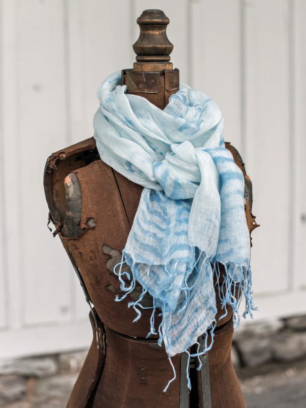 Indigo Dyed Linen Scarf