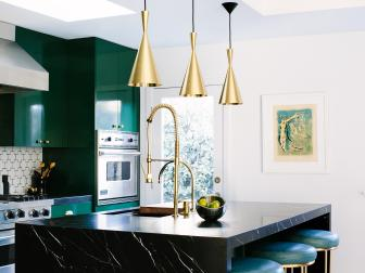 Contemporary Kitchen With Gold Cone-Shaped Pendant Lights