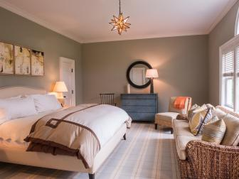 Transitional Guest Bedroom With Starburst Pendant Light