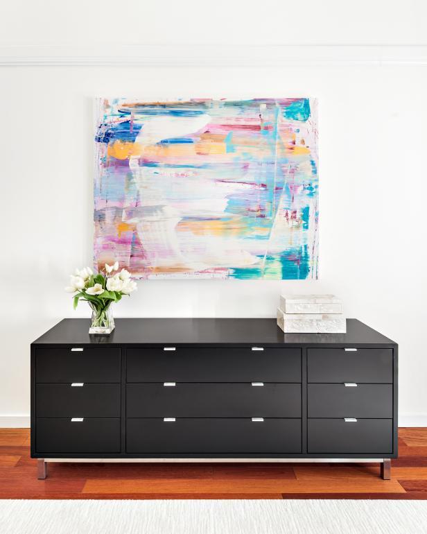 Contemporary Black Dresser In Master Bedroom