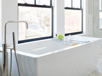 Contemporary Bathtub In White Master Bathroom