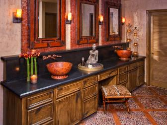 Asian Double Vanity Master Bathroom with Candles