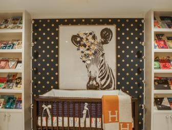 Black Transitional Nursery With Polka Dots