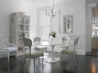 Transitional White Dining Room is Elegant
