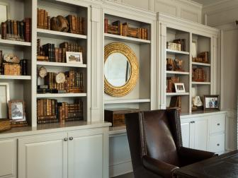 Home Study With Wall of Built-In Bookshelves