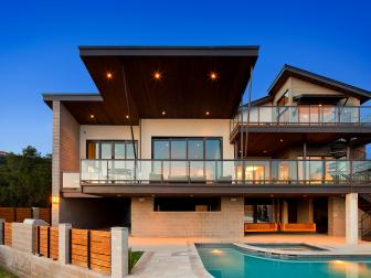 Back View of Contemporary Lakefront Home