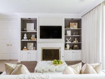 Stylish Bookshelves in Romantic Master Bedroom
