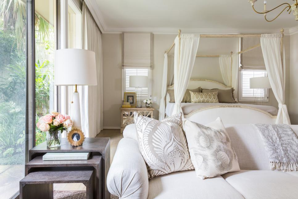 Elegant White Master Suite Features Gold Accents Hgtv