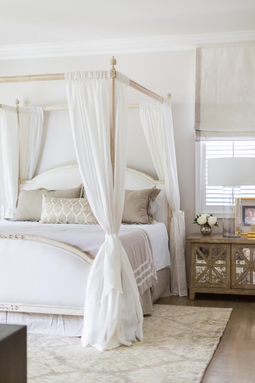 Elegant Romantic Bedrooms: Elegant White Master Suite Features Gold Accents