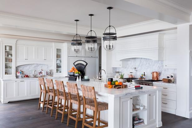 White Coastal Kitchen with Large Island