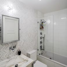 Transitional Bathroom With Chevron Tile