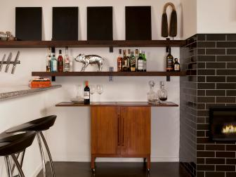 Mini Bar Area With Floating Shelf