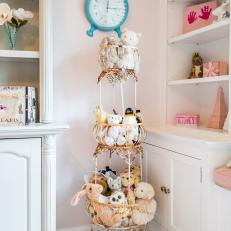 Unique Accent Pieces in Pink and White Little Girl's Room