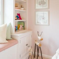 Built-In Shelving in Pink and White Little Girl's Room