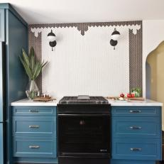Kitchen Stove & Blue Cabinets