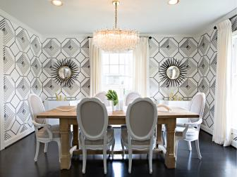 Fashionable Dining Room With Graphic Black & White Wallpaper