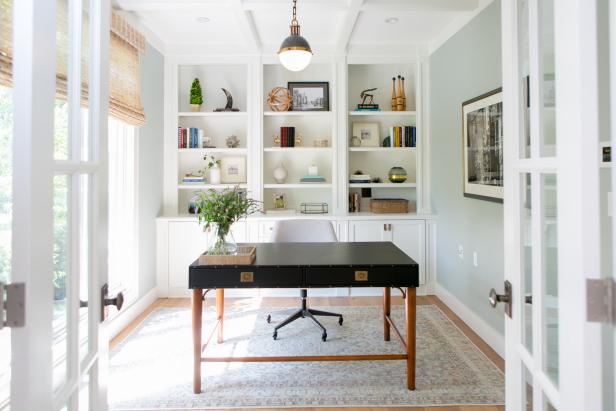 Blue Transitional Home Office
