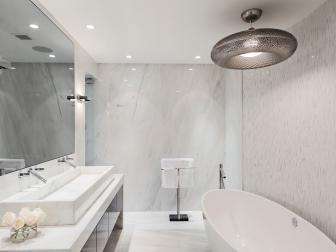 Modern Master Bathroom with Plenty of Light and a Large Soaking Tub