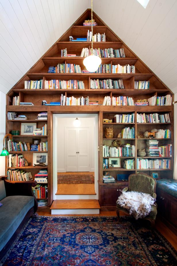 Antique Furniture Meets Boho Accents in Eclectic Library