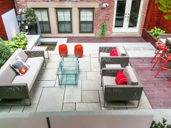 Contemporary Patio with Boxwoods, Pavers, Brick and Plexiglass Screen