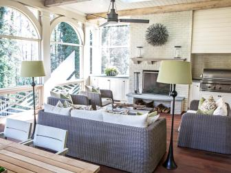 Screened Porch with Fireplace and Grill