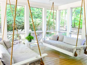 Porch with Swing Beds and Painted Floor in a Diamond Pattern