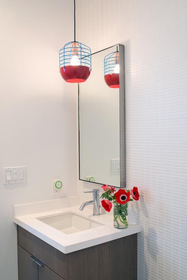 Pops of Red in Modern Powder Room