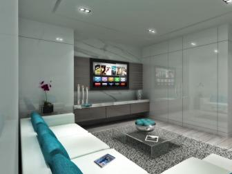 Contemporary Gray Media Room With Teal Accents