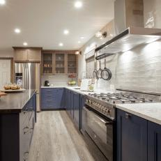 Fresh Blue and White Kitchen With White Subway Tile Backsplash