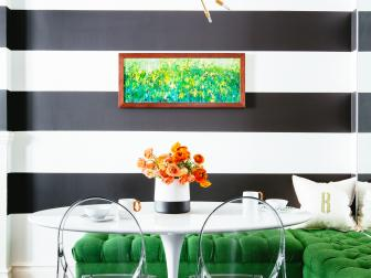 Bold Black and White Breakfast Nook With Thick Wall Stripes, Kelly Green L-Shaped Bench and Small Modern Dining Table