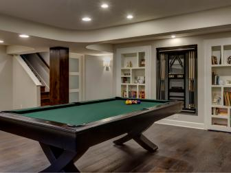 Masculine Billiard Area in Modern Basement