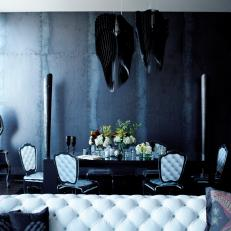 Dramatic, Dark-Walled Dining Room