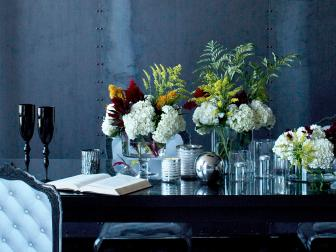 Industrial Chic Dining Room with Flowers as Art