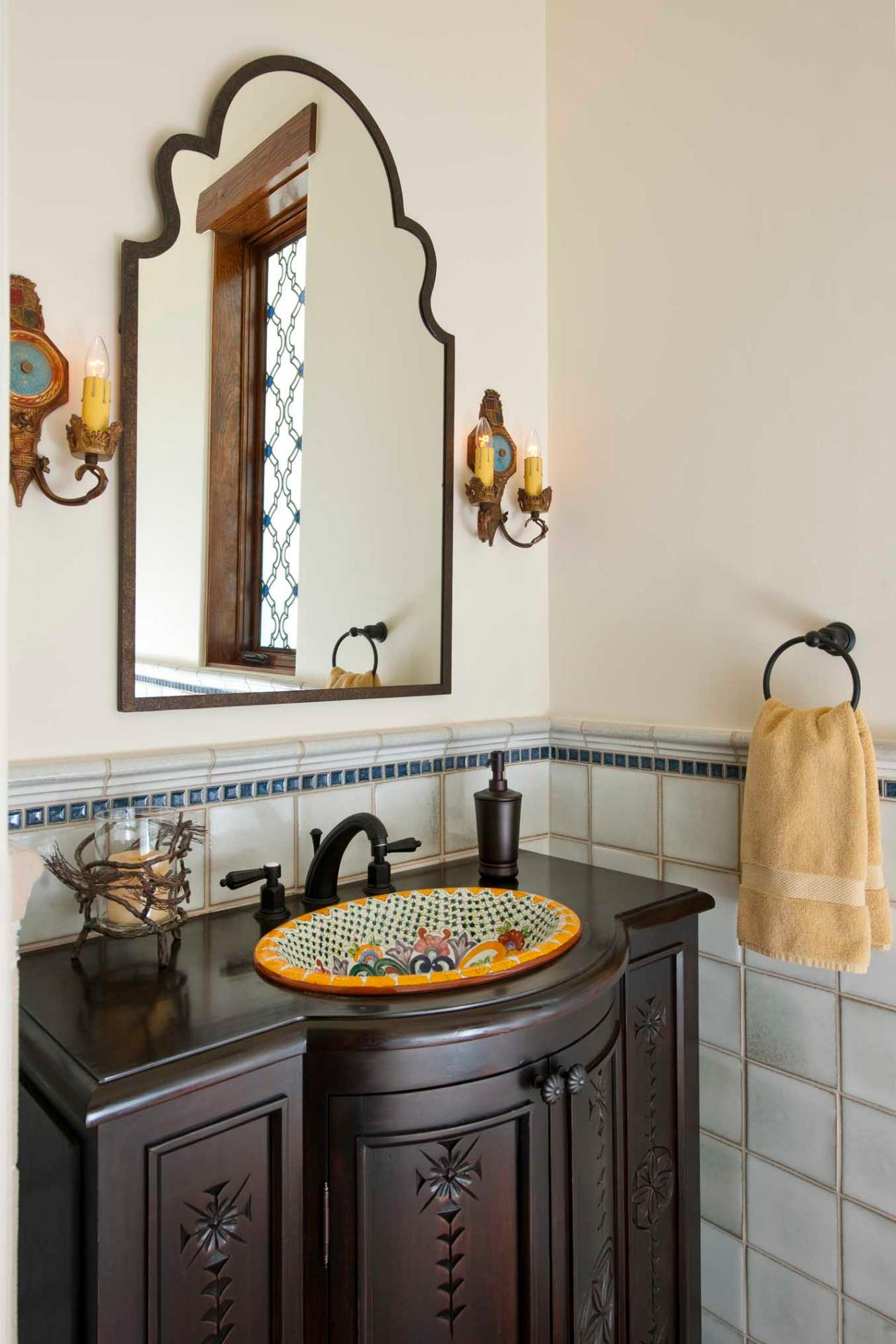 Elegant Southwestern Powder Room