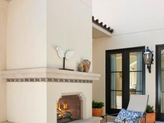 Southwestern Fireplace in Relaxing Outdoor Courtyard