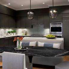 Elegant Eat-In Kitchen With Deep Gray Cabinetry