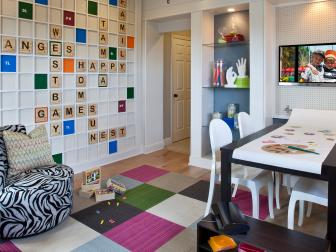 Colorful Playroom With Custom Scrabble Board Accent Wall