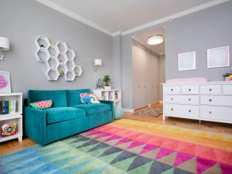 Flat Light and Fun Rug in Hallway Leading to Little Girl's Nursery