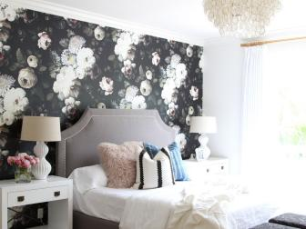 Natural Light Helps Keep Bold Florals from Overwhelming the Bedroom Design