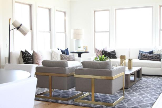 White Contemporary Living Room With Gray Armchairs