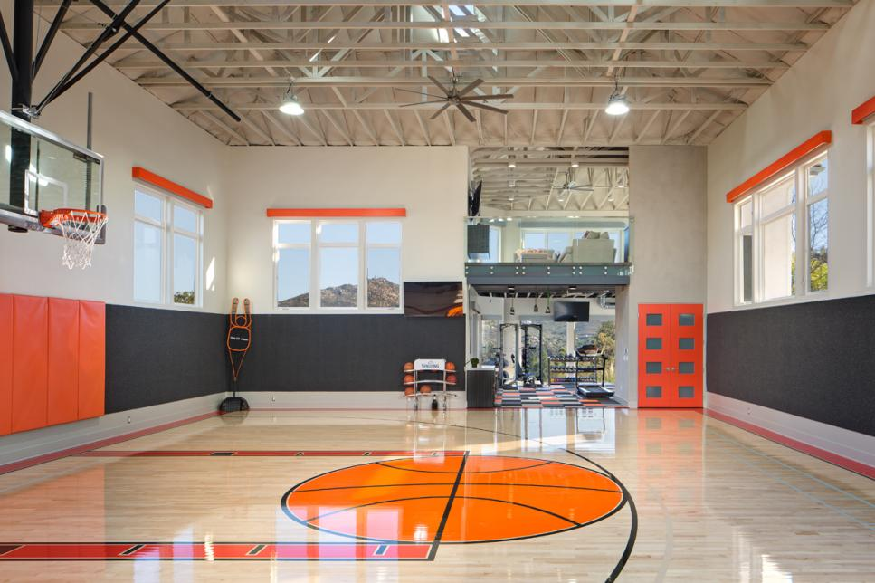 Private indoor basketball court hgtv faces of design hgtv for Basketball garage