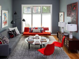 Bright Red Accent Pieces in Gray Contemporary Living Room With Vintage Media Cabinet and Large Area Rug