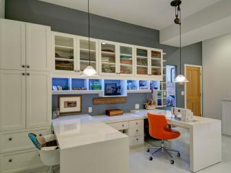 Transitional Crafts Room With Built in Cabinet Storage, Moveable Table Panels and Adjustable Pendant Lights