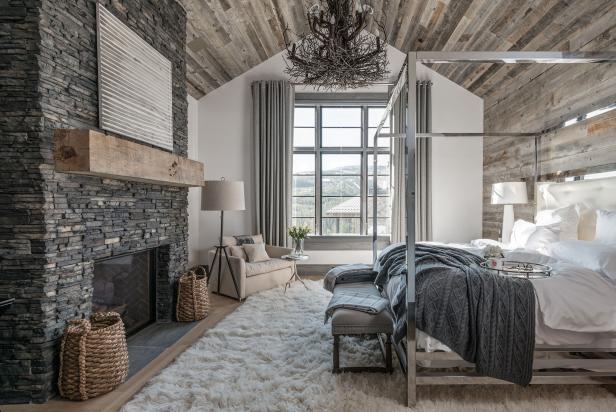 Rustic Meets Contemporary Master Bedroom