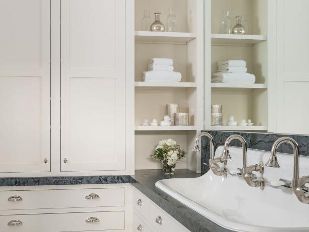 Cottage-Inspired Bathroom has Plenty of Storage