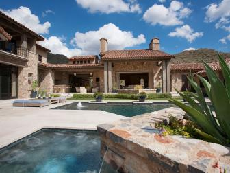 Mediterranean Backyard With Hot Tub and Pool