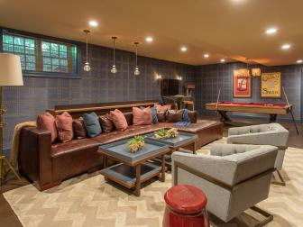 Blue and Red Game Room With Leather Sectional