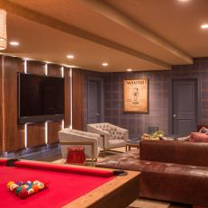 Blue and Brown Game Room With Pool Table